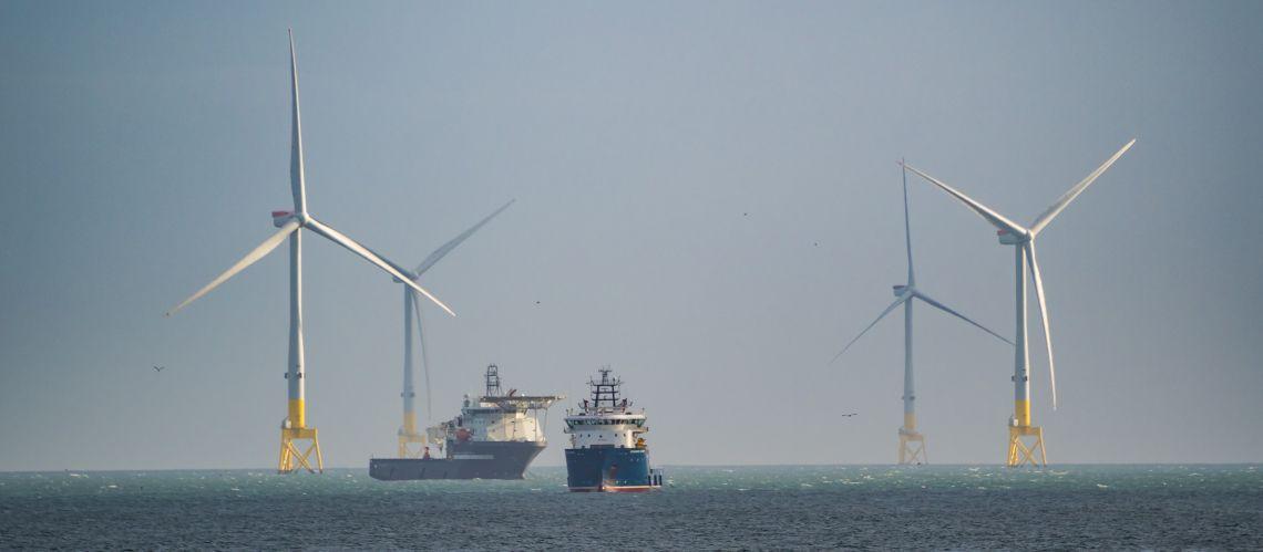 Ships at wind farm near Aberdeen