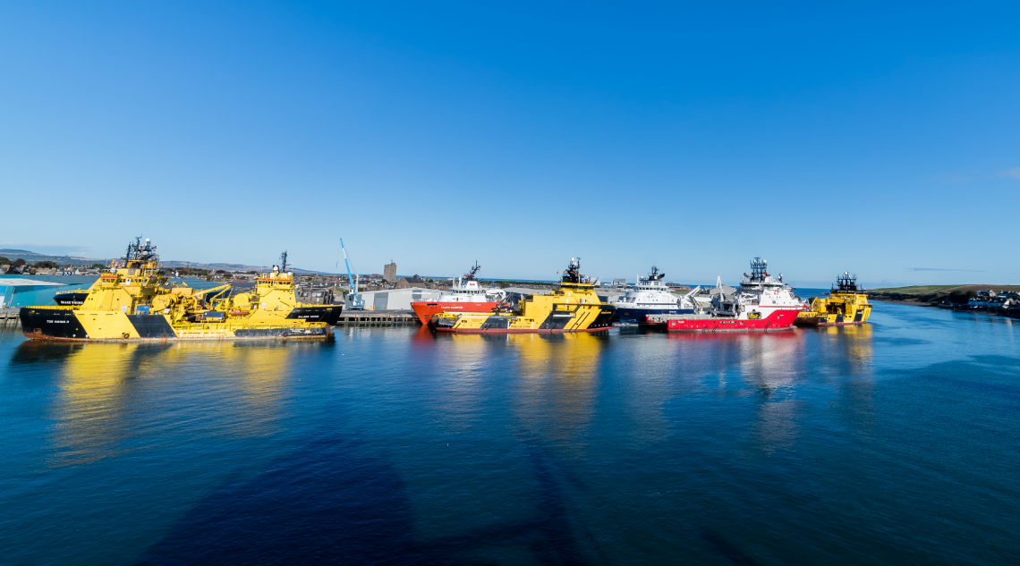 Support vessels berthed at Montrose