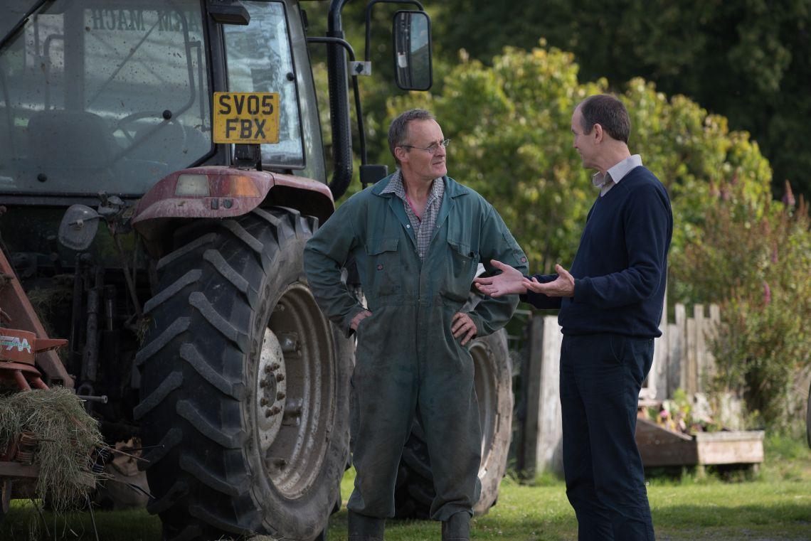 Andy Wells and a farming tenant at Glenlivet Estate