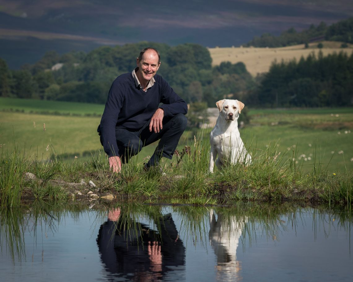 Andy Wells and his dog at Glenlivet