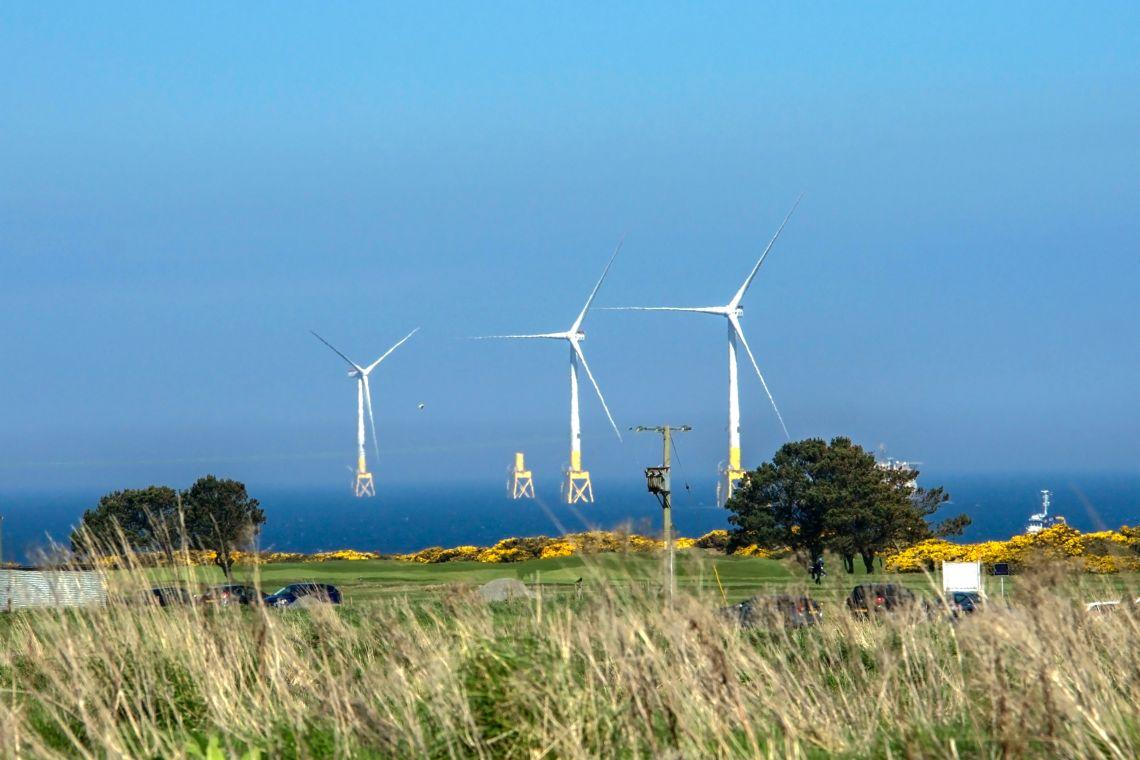 Turbines off the coast near Aberdeen